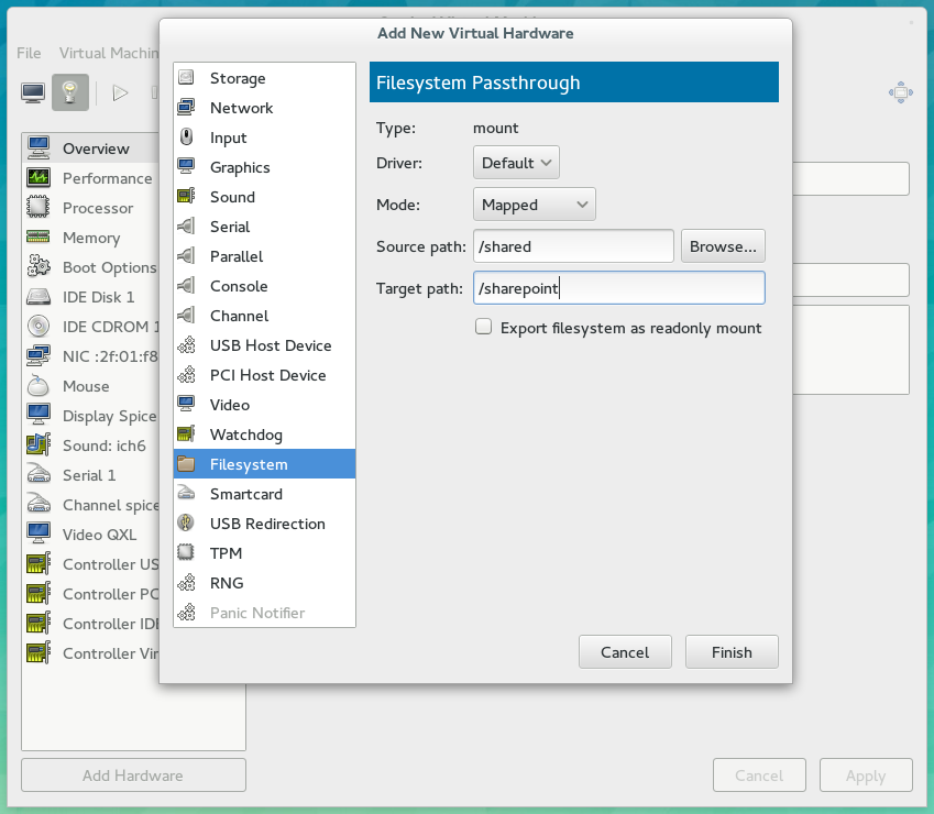How to set up shared folders in virt-manager – Notes to self